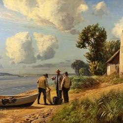 Пазл онлайн: Три рыбака на берегу
