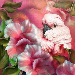 Пазл онлайн: Цветы и попугаи