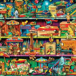 Пазл онлайн: Полка с игрушками