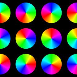 Пазл онлайн: 12 цветных дисков