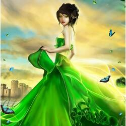 Пазл онлайн: Леди в зеленом