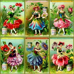 Пазл онлайн: Девушки-цветы