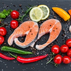 Пазл онлайн: Рыба и овощи