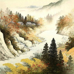 Пазл онлайн: Деревня в горах