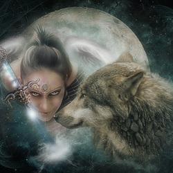 Пазл онлайн: Волчицы