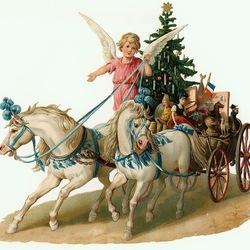 Пазл онлайн: Ангел с подарками