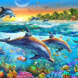 Пазл онлайн: Весёлые дельфины