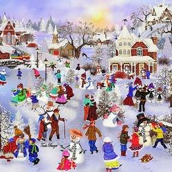 Пазл онлайн: Фестиваль снеговиков