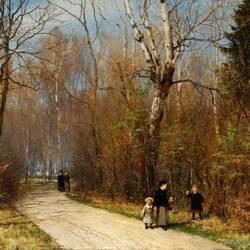 Пазл онлайн: Прогулка в осеннем лесу