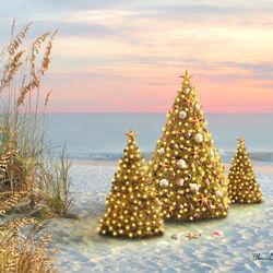 Пазл онлайн: Рождество на берегу океана