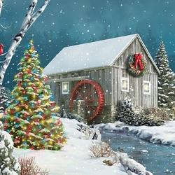 Пазл онлайн: Рождество на старой мельнице