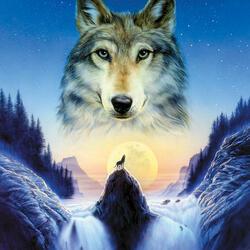 Пазл онлайн: Космический волк