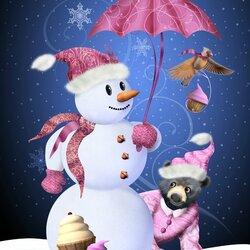 Пазл онлайн: Гламурный снеговик