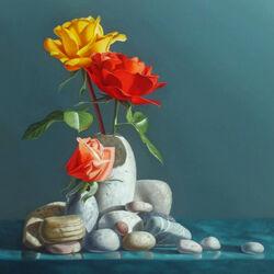 Пазл онлайн: Розы и камни