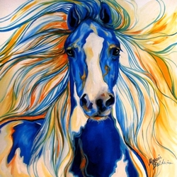 Пазл онлайн: Синий конь