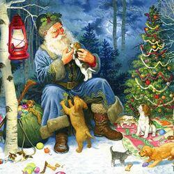 Пазл онлайн: Санта и звери