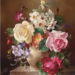 Пазл онлайн: Натюрморт с розами и нарциссами