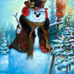 Пазл онлайн: Новогодний снеговичок