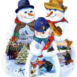 Пазл онлайн: Рождественские снеговики