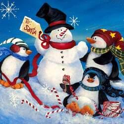 Пазл онлайн: Снеговик  и пингвины