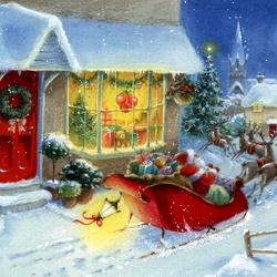 Пазл онлайн: Мчится упряжка с подарками