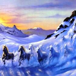 Пазл онлайн: Снежные кони