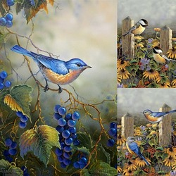 Пазл онлайн: Птицы и виноград