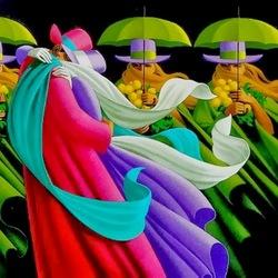 Пазл онлайн: Любовь под зелёными зонтиками