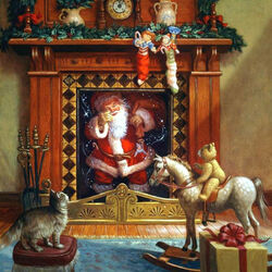 Пазл онлайн: Санта Клаус прибыл