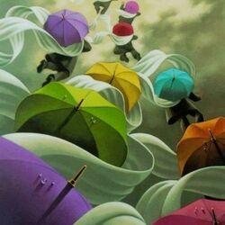 Пазл онлайн: Полет под зонтиком