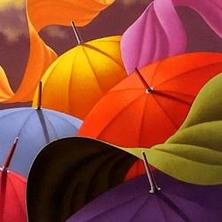 Пазл онлайн: Цветные зонтики