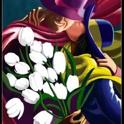 Пазл онлайн: Поцелуй с белыми тюльпанами