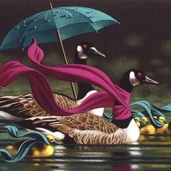 Пазл онлайн: Утки под зонтиком
