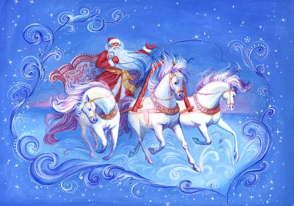 картинки тройка коней новогодние машине