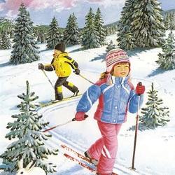 Пазл онлайн: Лыжная прогулка