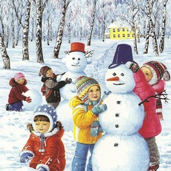 Пазл онлайн: Веселый снеговик