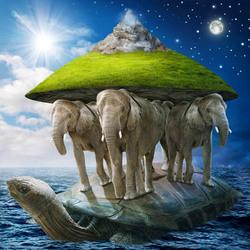 Пазл онлайн: Слоны на черепахе