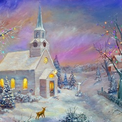 Пазл онлайн: Зимний пейзаж