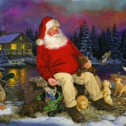 Пазл онлайн: Санта у пруда