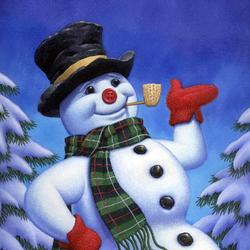 Пазл онлайн: Весёлый снеговик