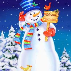 Пазл онлайн: Добро пожаловать, зима!