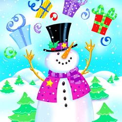 Пазл онлайн: Новогодний снеговик