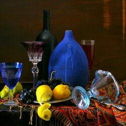 Пазл онлайн: Натюрморт с синей вазой
