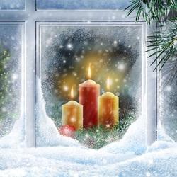 Пазл онлайн: Свечи на окне