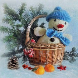 Пазл онлайн: Снеговик приехал