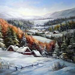 Пазл онлайн: Деревня зимой