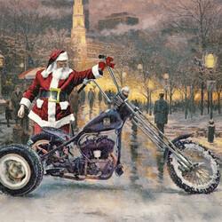 Пазл онлайн: Санта байкер
