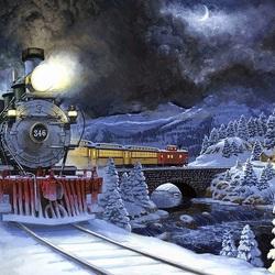 Пазл онлайн: Поезд в Новый год