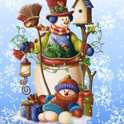 Пазл онлайн: Снеговички
