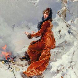 Пазл онлайн: Зимний костер